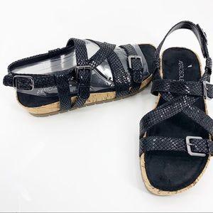 New Aerosoles Black Snake Print Buckle Sandals